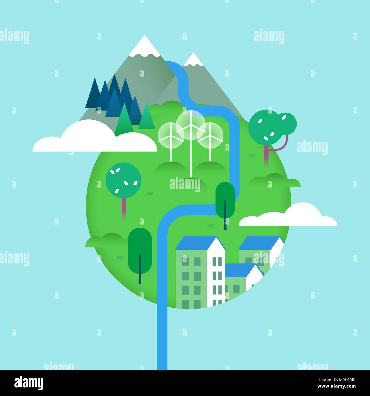 Mondo verde illustrazione con gli elementi della natura e for Apri le foto di case di concetto