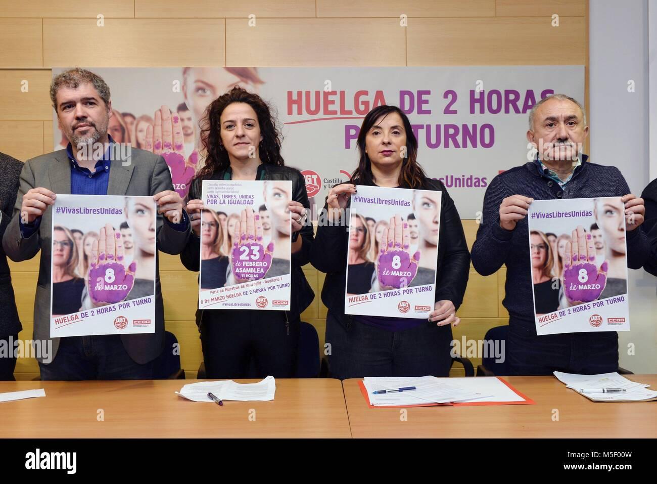 Valladolid, Spagna. Il 23 febbraio, 2018. Il segretario generale delle Comisiones Obreras (CCOO) unione, Unai Sordo Immagini Stock