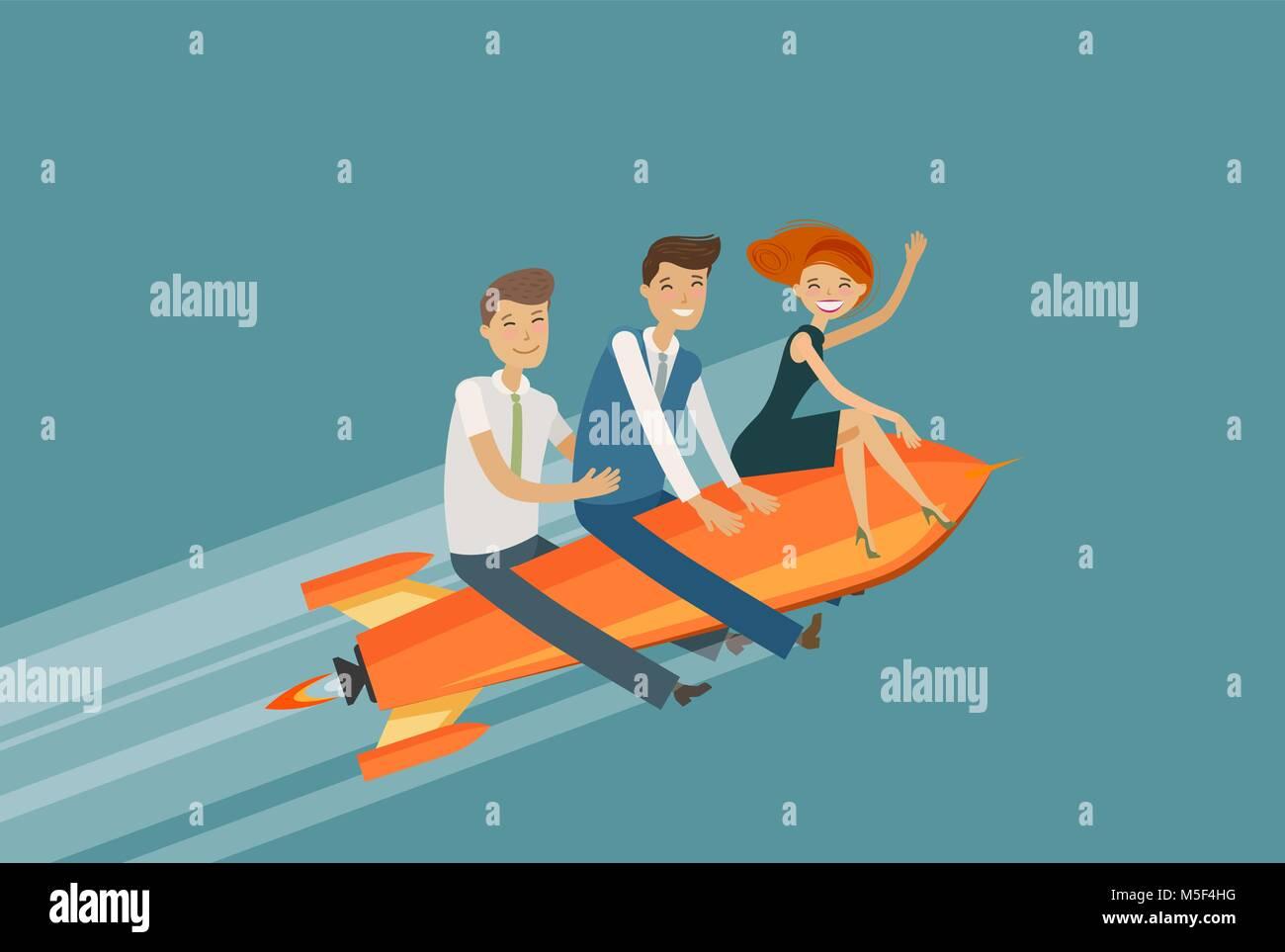 Il lavoro di squadra, la concezione di business. Il successo, Realizzazione, sviluppo illustrazione vettoriale Illustrazione Vettoriale