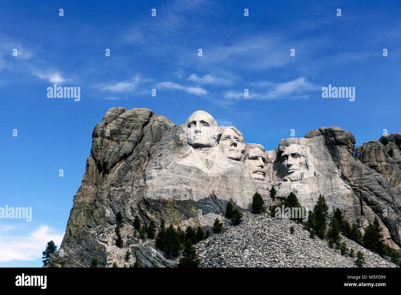 SD00028-00...Dakota del Sud - Presedents Georg Washington Thomas Jefferson, Theodore Roosevelt e Abraham Lincoln Immagini Stock