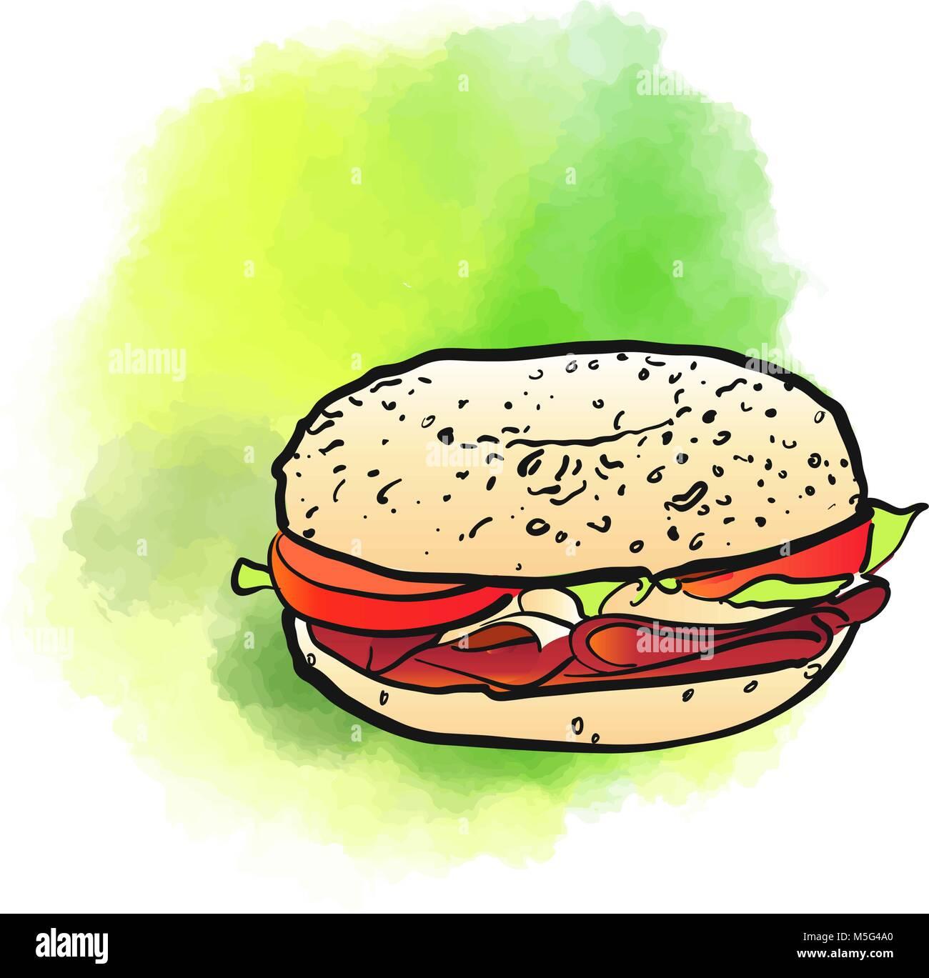 Bagel Poster background di design. Concetto immagini vettoriali con copia spazio. Ideale per prodotti alimentari Immagini Stock