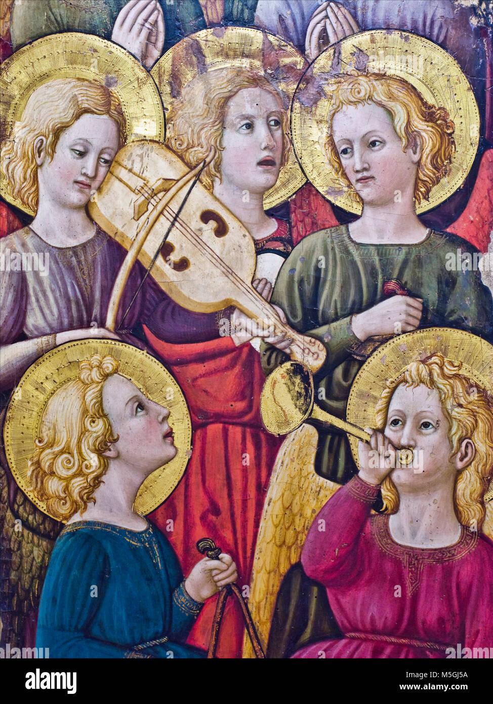 Chiesa di Santa Maria delle Grazie, museo, coro di angeli musicanti, San Giovanni Valdarno, Toscana, Italia Foto Stock
