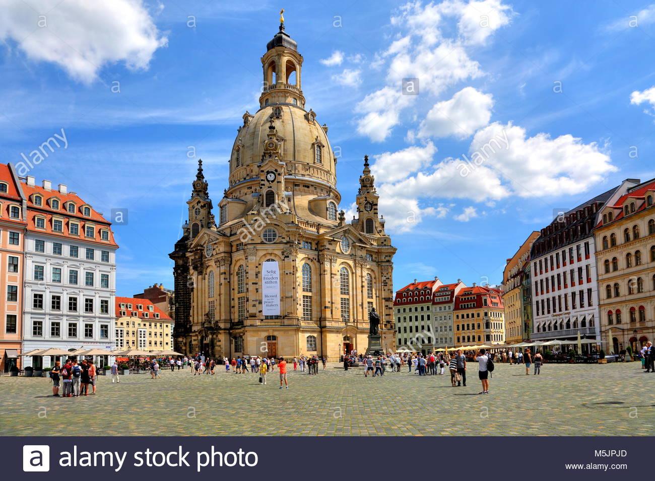 La Frauenkirche sul Neumarkt,Città Vecchia,Dresda, Sassonia, Germania Immagini Stock