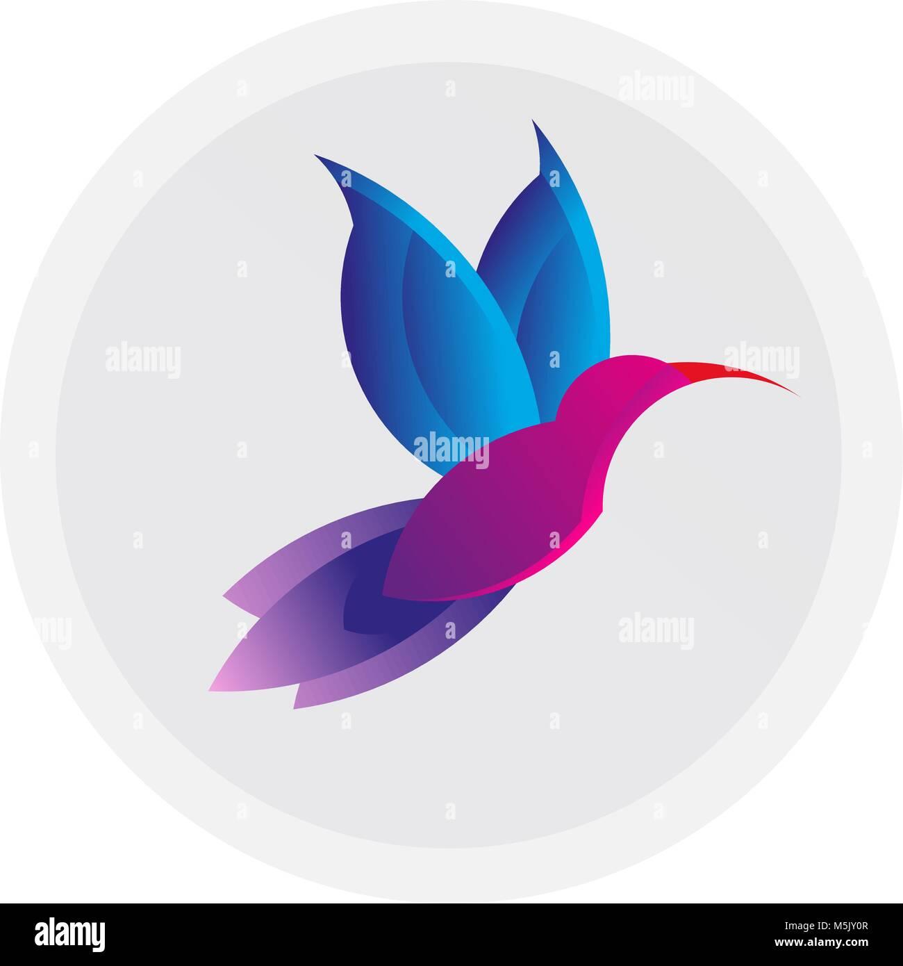 Hummingbird Colorati Segno Semplice Bird Colibri Logo Disegno Di