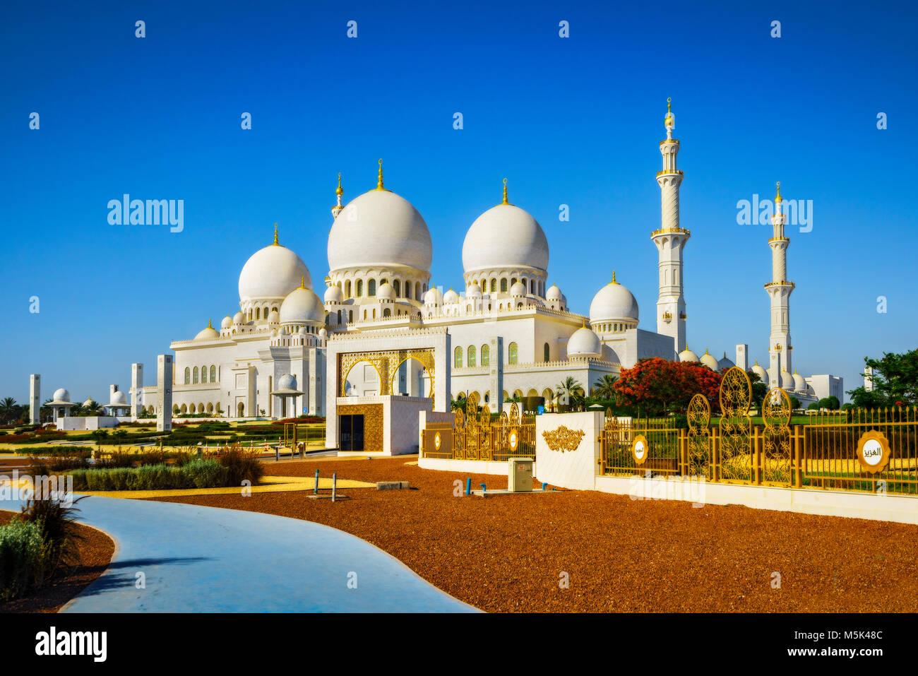 L'imponente Sheikh Zayed Grande Moschea di Abu Dhabi Immagini Stock