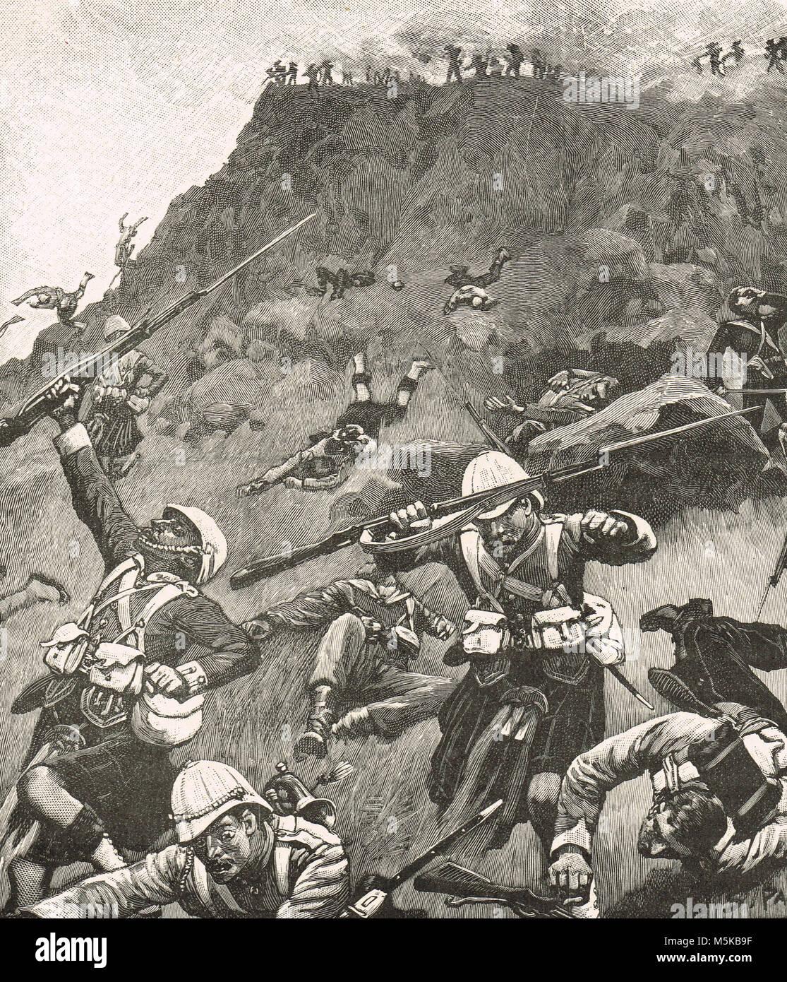 Montanari in ritiro alla battaglia di Majuba Hill, 27 febbraio 1881. La fase finale e decisiva battaglia della Prima Immagini Stock