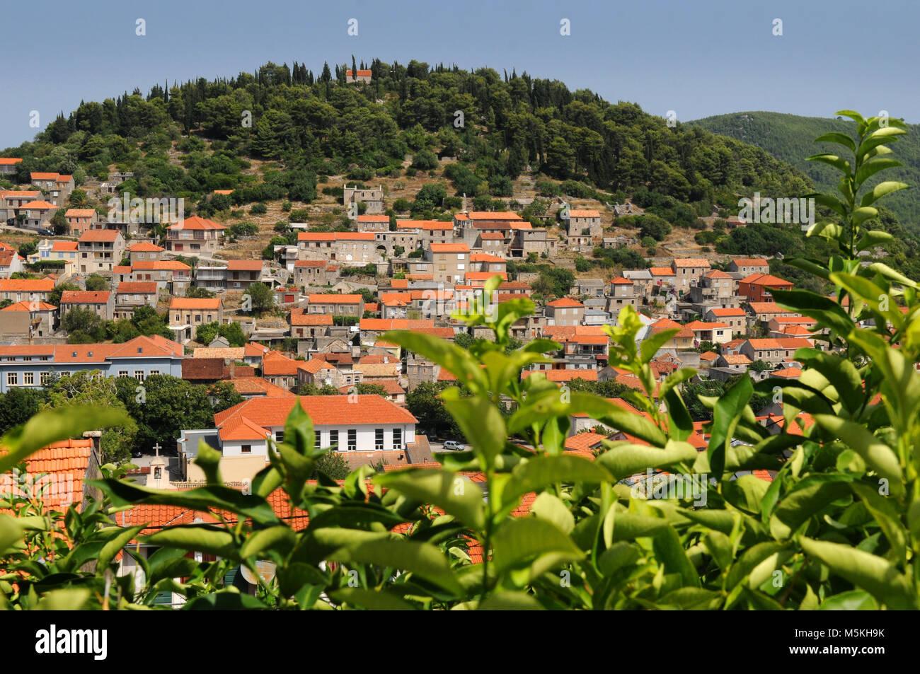 Piccola città croata Blato sull isola di Korcula Croazia Immagini Stock