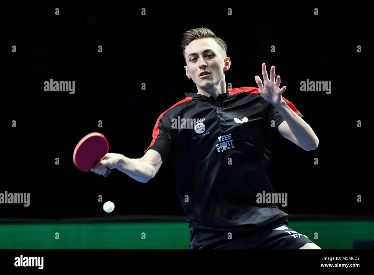 Londra, UK, 24 feb 2018. durante la International Table Tennis Federation World Team Cup match tra alla casella Immagini Stock
