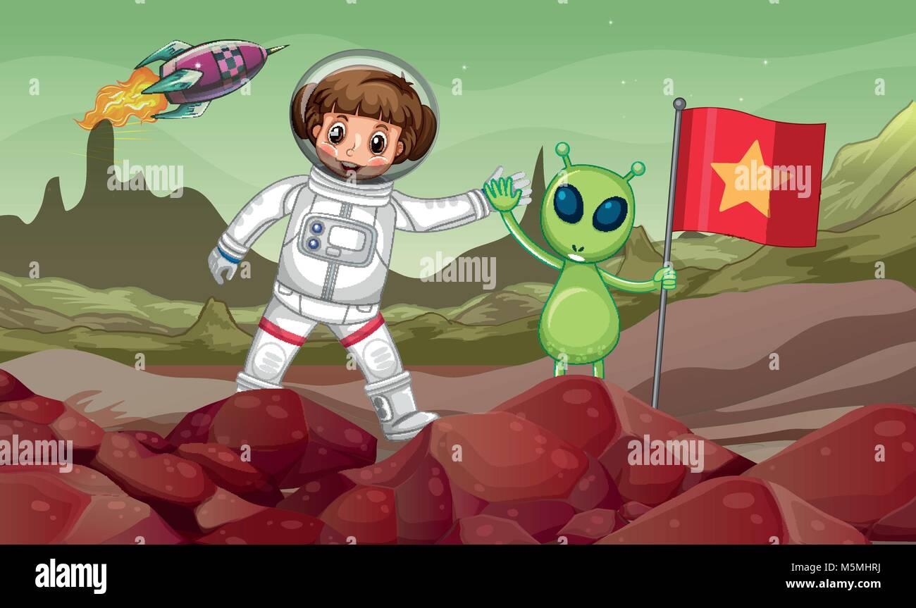 Verde alien e astronauta nello spazio con bandiera rossa