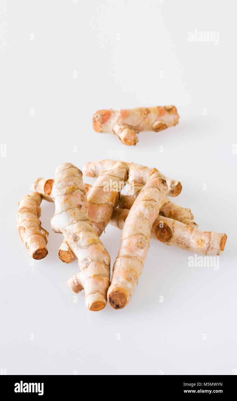 Curcuma longa. Curcuma rizomi. Immagini Stock