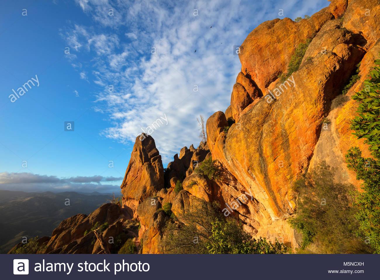 Sole del tardo pomeriggio fa uscire il colore dorato dei picchi elevati in pinnacoli National Park, California. Immagini Stock