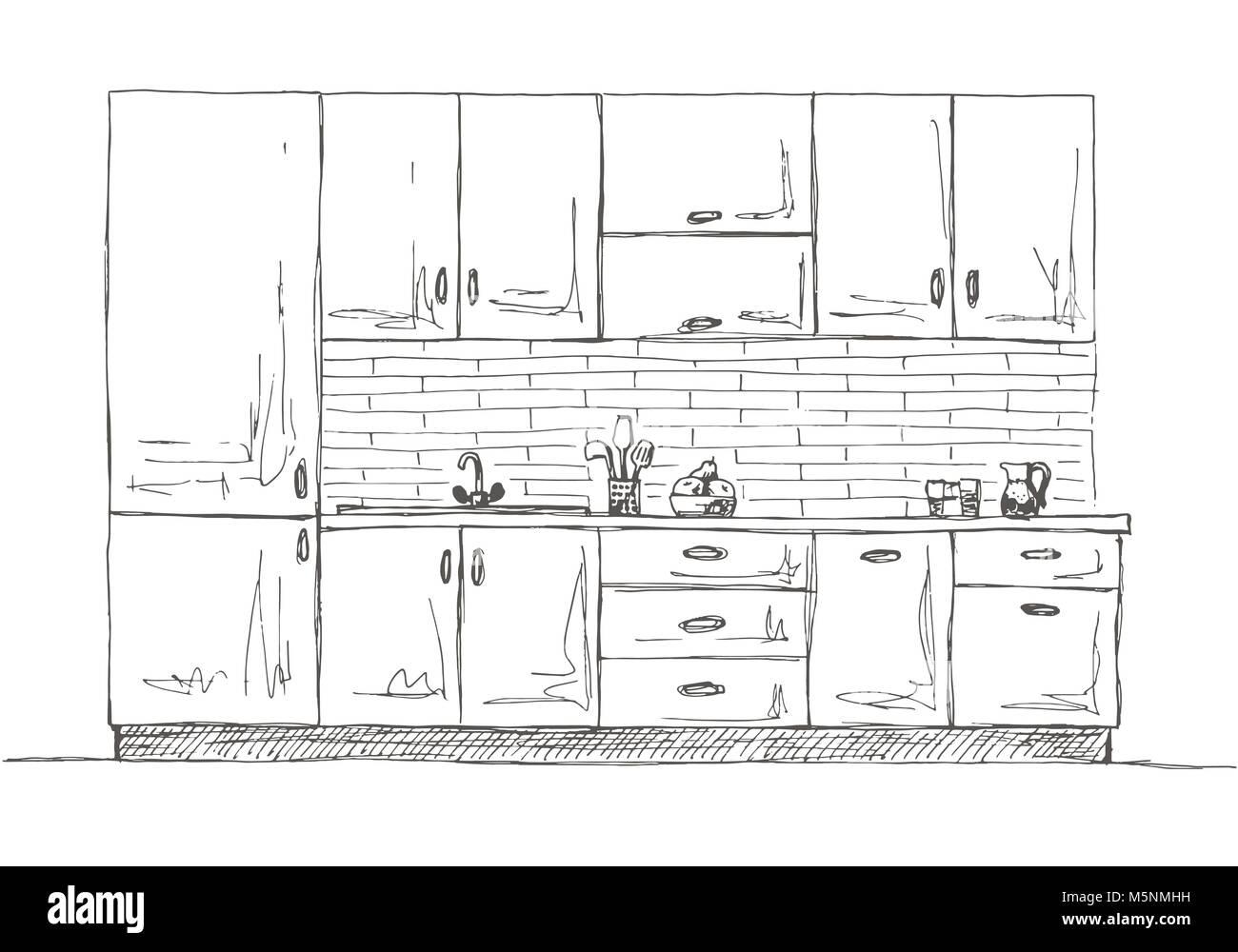 Disegnata Per Mobili Da Cucina Illustrazione Vettoriale In Stile Di Disegno Immagine E Vettoriale Alamy