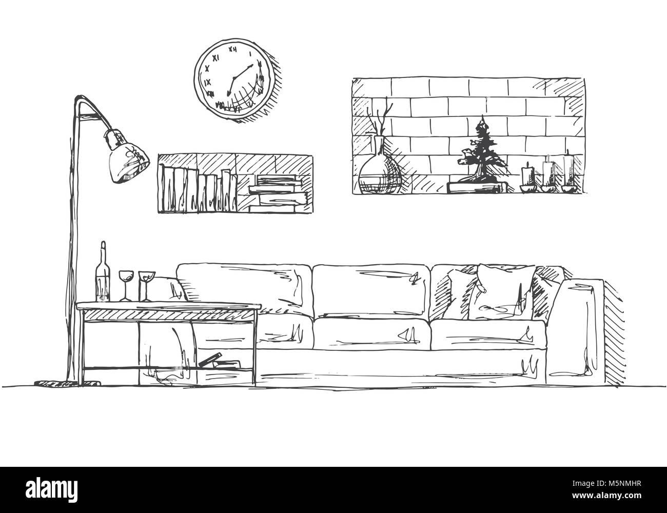 Divano Mensole A Muro Tavolo E Lampada Da Terra Disegnata A Mano Illustrazione Vettoriale Di Un Disegno Stile Immagine E Vettoriale Alamy