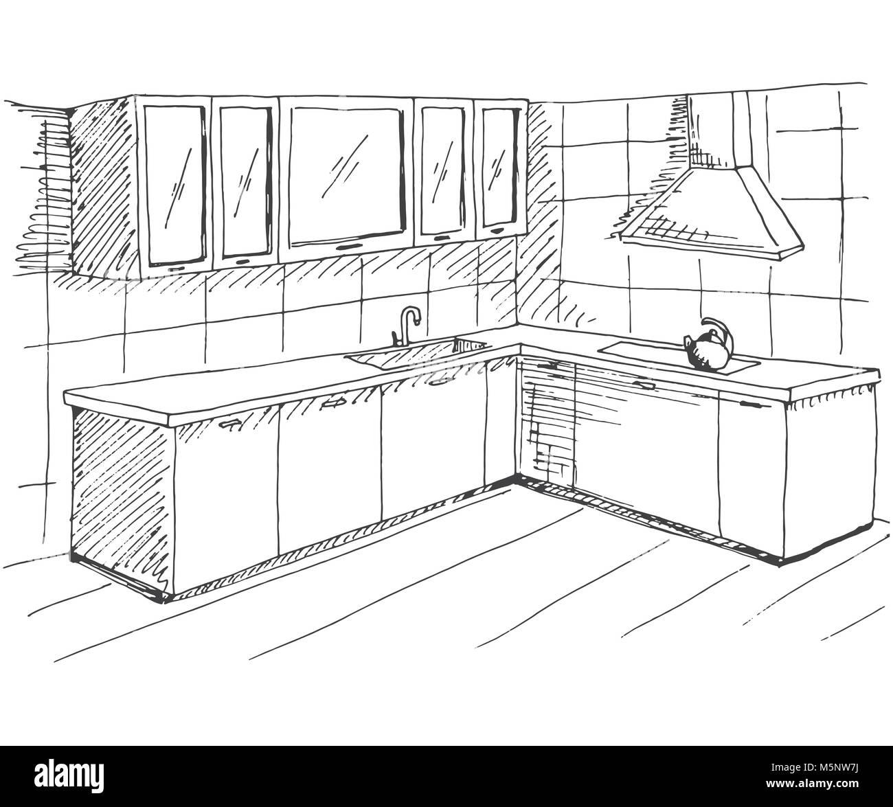 Mano Bozzetto Dell Interno Disegno Rapido Di Mobili Da Cucina Illustrazione Vettoriale Nel Disegno Stile Immagine E Vettoriale Alamy
