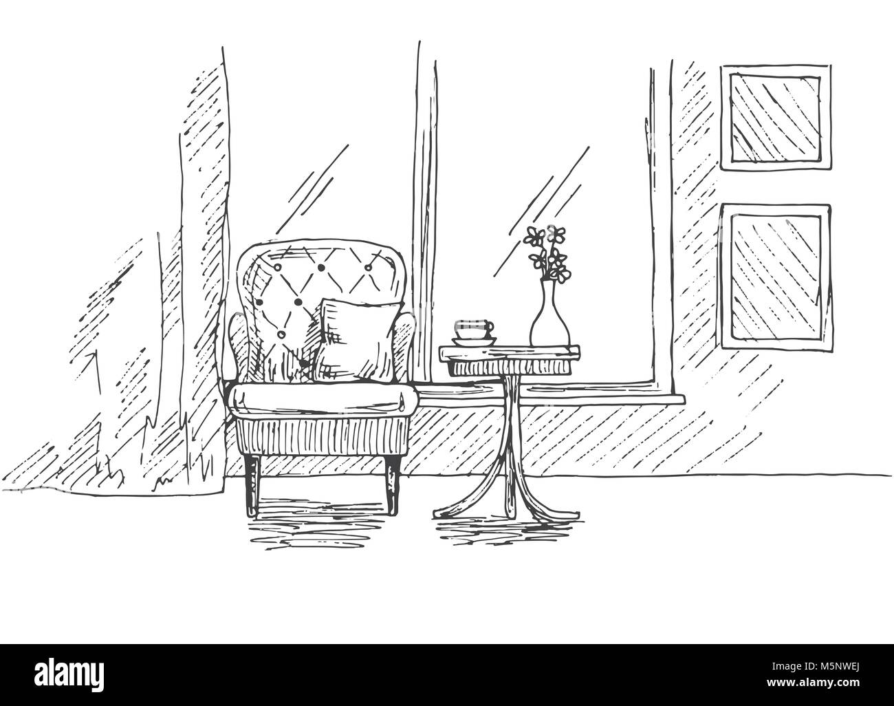 Disegnare Una Scrivania.Disegnata A Mano Sedia Scrivania Finestre Sul Tavolo E Un