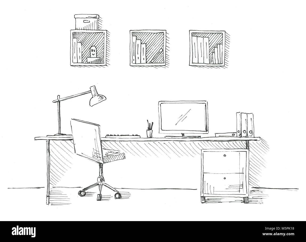 Schizzo della stanza sedia da ufficio scrivania vari for Design stanza ufficio