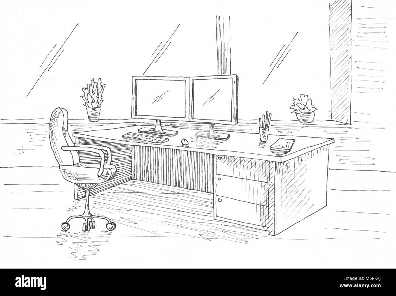 Disegnare Una Scrivania.Posto Di Lavoro Al Computer Scrivania Sedia Da Ufficio