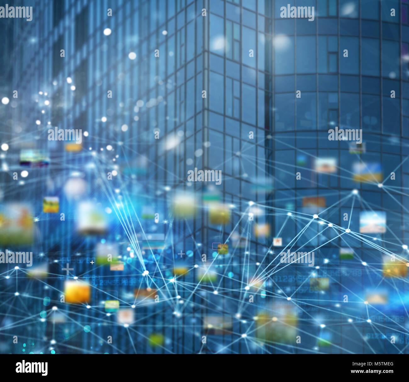 Abstract rete di collegamento internet con uno sfondo con effetti di movimento Immagini Stock