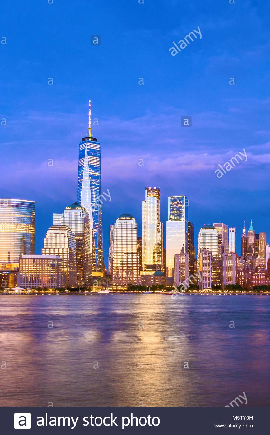 Skyline di New York One World Trade Center WTC Freedom Tower Immagini Stock