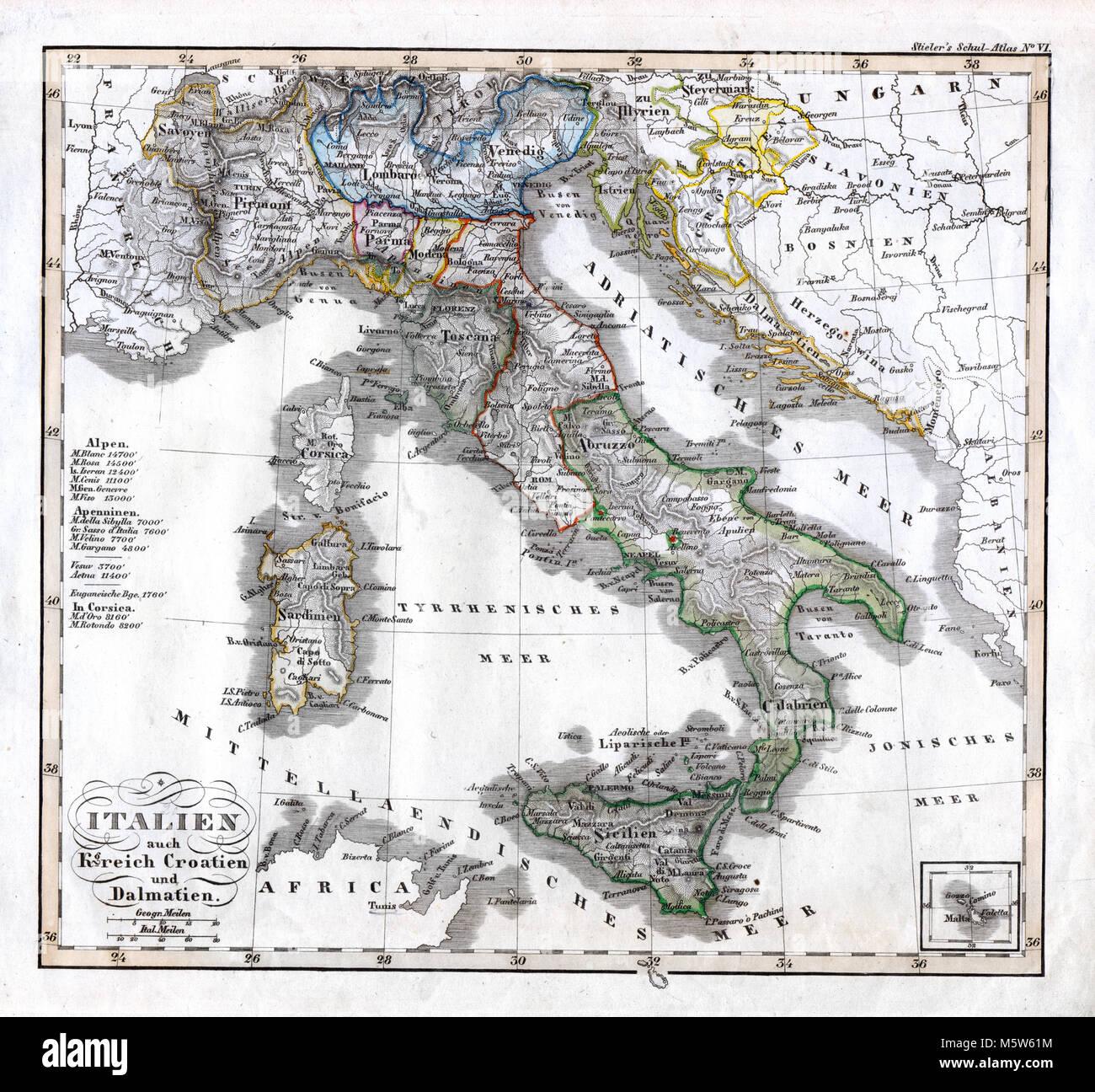Dalmazia Italiana Cartina.Vecchia Mappa Della Sardegna Immagini E Fotos Stock Alamy