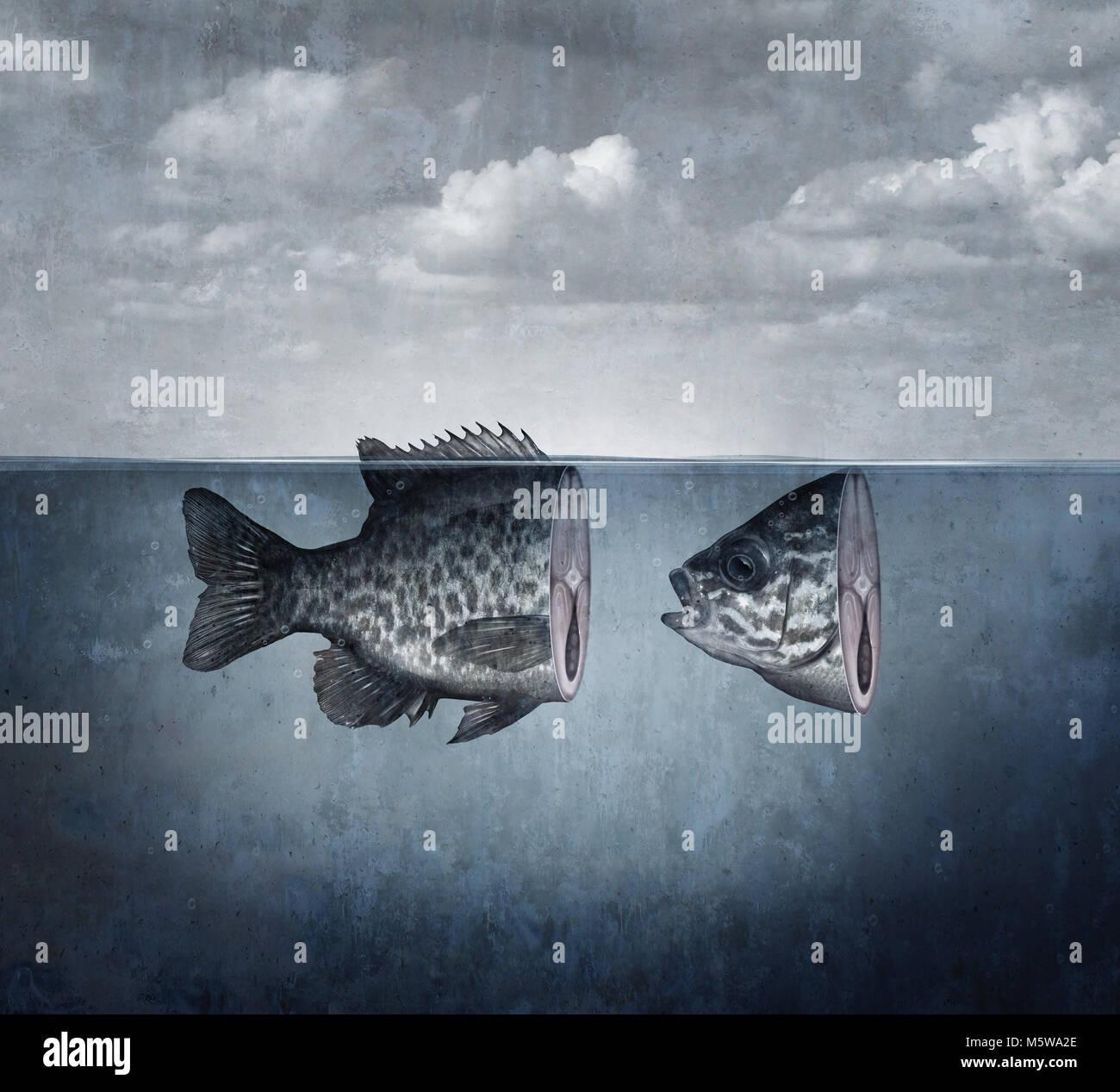 Pesce surreale arte concetto tagliato in due pezzi come una idea astratta di disunione e split simbolo in un 3D Immagini Stock