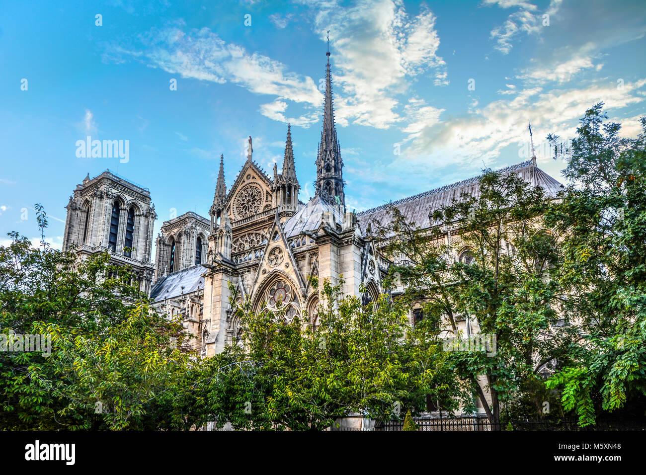 La raffinata architettura gotica e guglie sul lato della cattedrale di Notre Dame di Parigi Francia su una soleggiata Immagini Stock