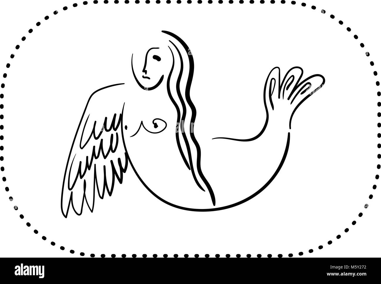 Sirin mitologico uccello a metà donna metà uccello nel contorno nero su sfondo bianco Immagini Stock