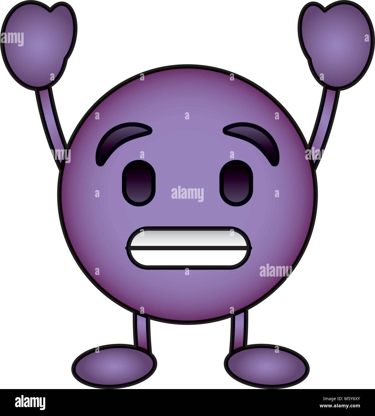 Viola Emoticon Cartoon Faccia Sorriso Toothy Carattere