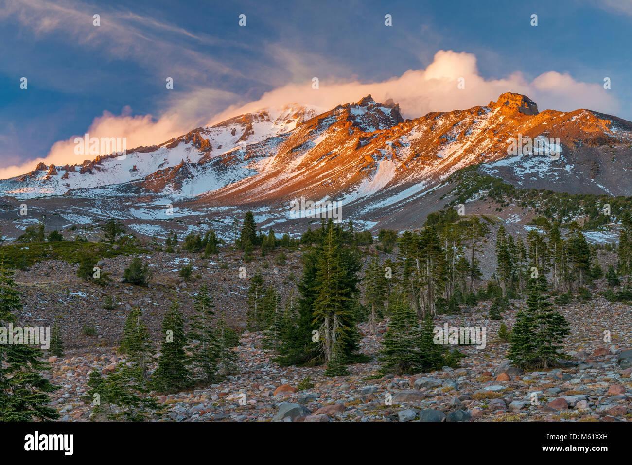 Mount Shasta, Panther Prato, Shasta-Trinity National Forest, California Immagini Stock