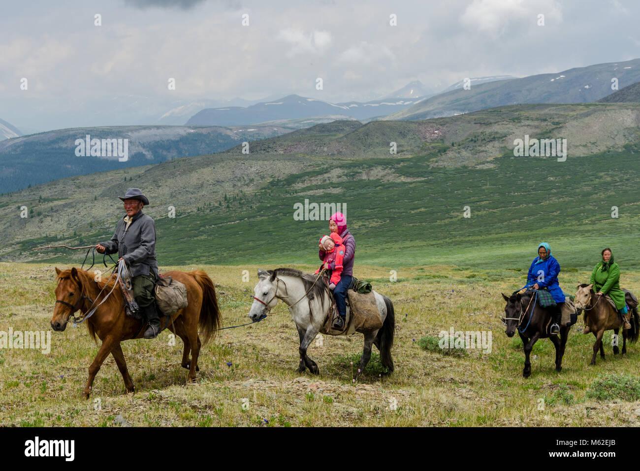 Tsaatan Vita, renne Herder, Tsaaganuur, Mongolia Immagini Stock