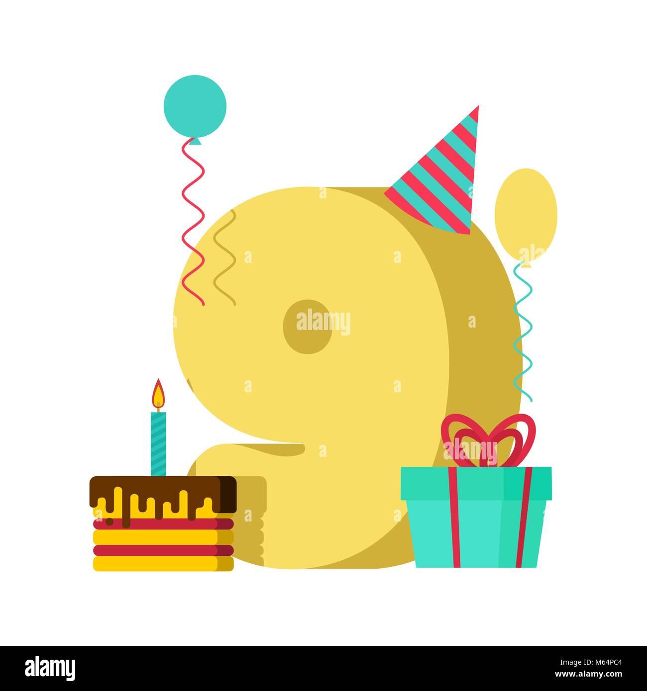 9 Anno Biglietto Di Auguri Di Compleanno Nono Anniversario Modello