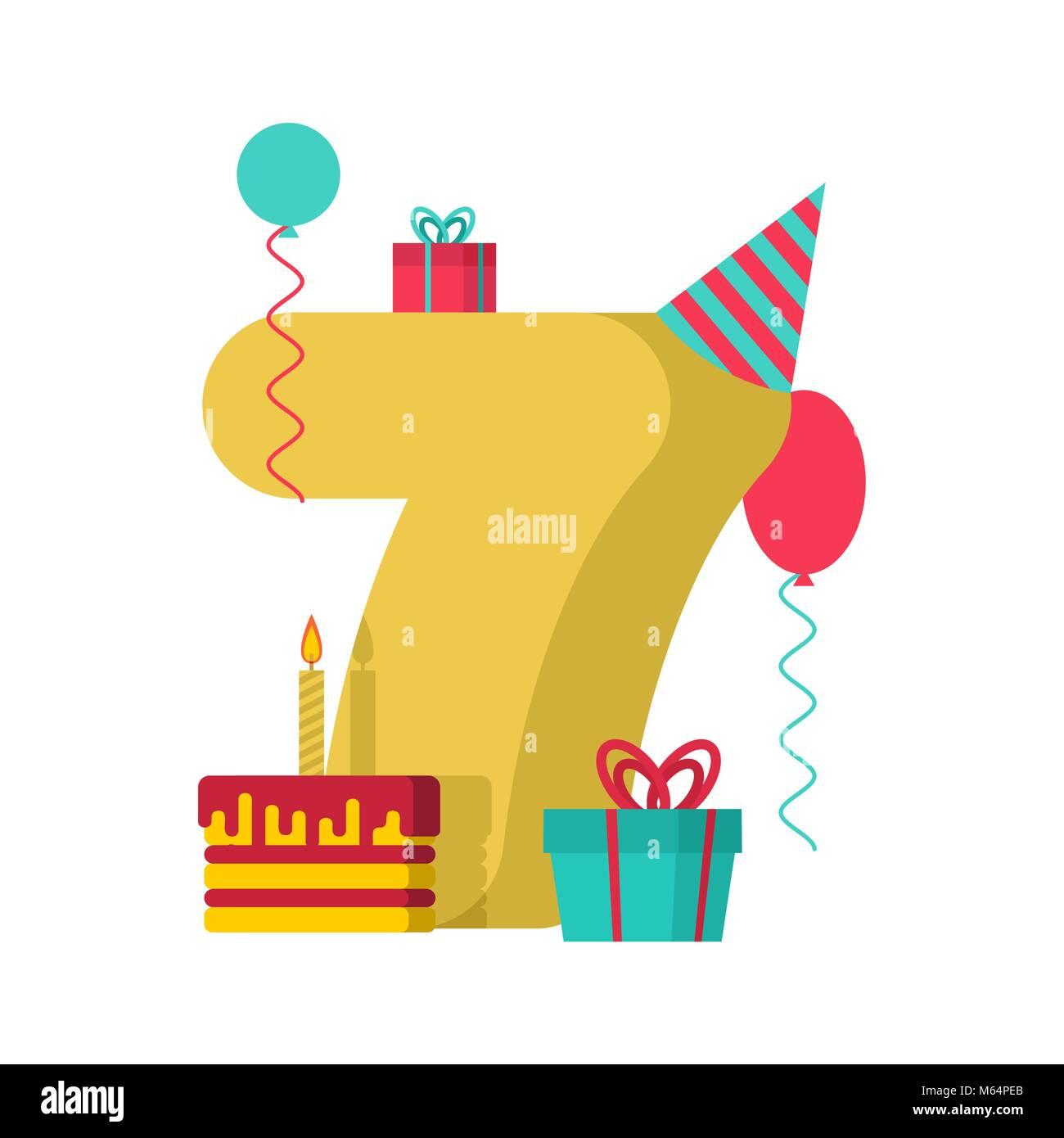 Auguri Di Buon Compleanno Bambini 7 Anni.7 Anno Buon Compleanno Biglietto Di Auguri Settimo