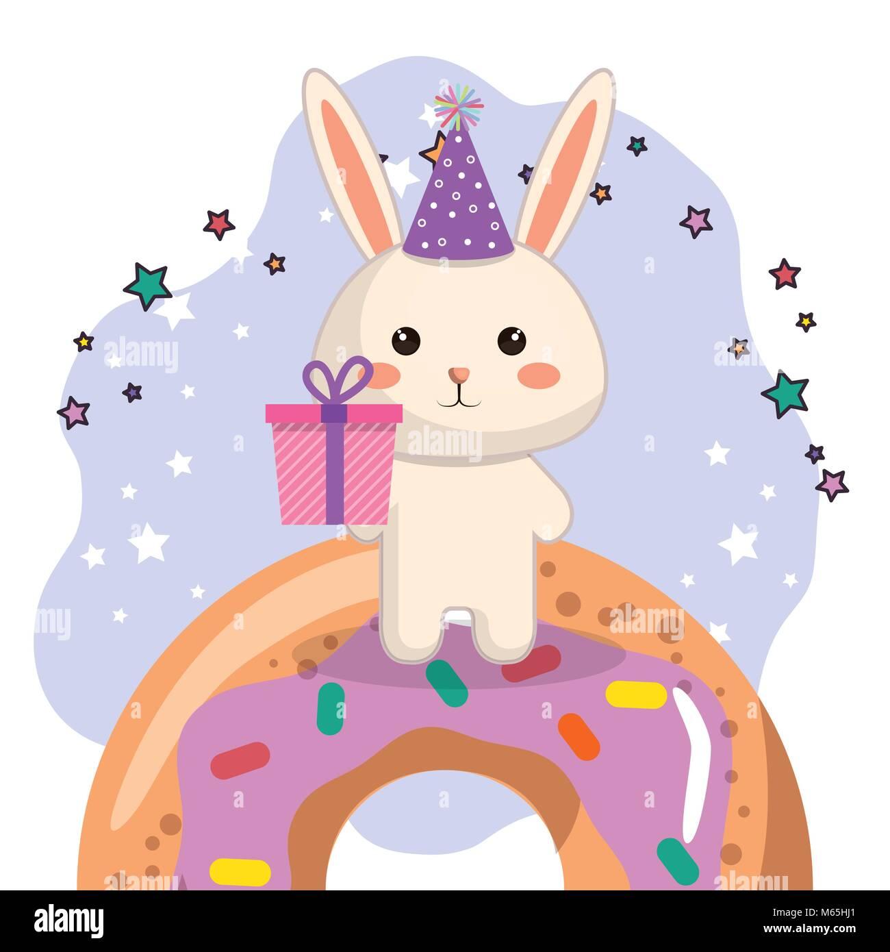 Simpatico coniglio con dono e donut kawaii biglietto di