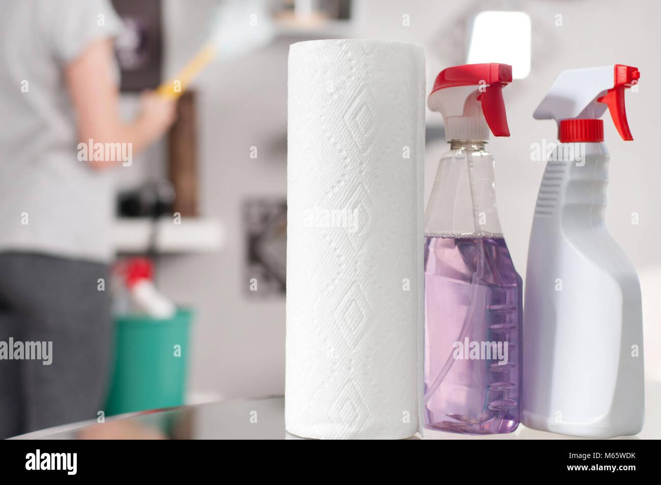 Materiali per la pulizia. Pulitore professionale facendo cleanup Immagini Stock