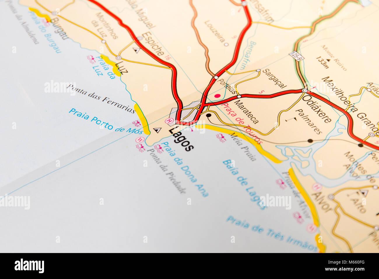 Cartina Geografica Algarve.In Prossimita Della Strada Dettaglio Mappa Della Citta Di Lagos In Algarve Portogallo Foto Stock Alamy