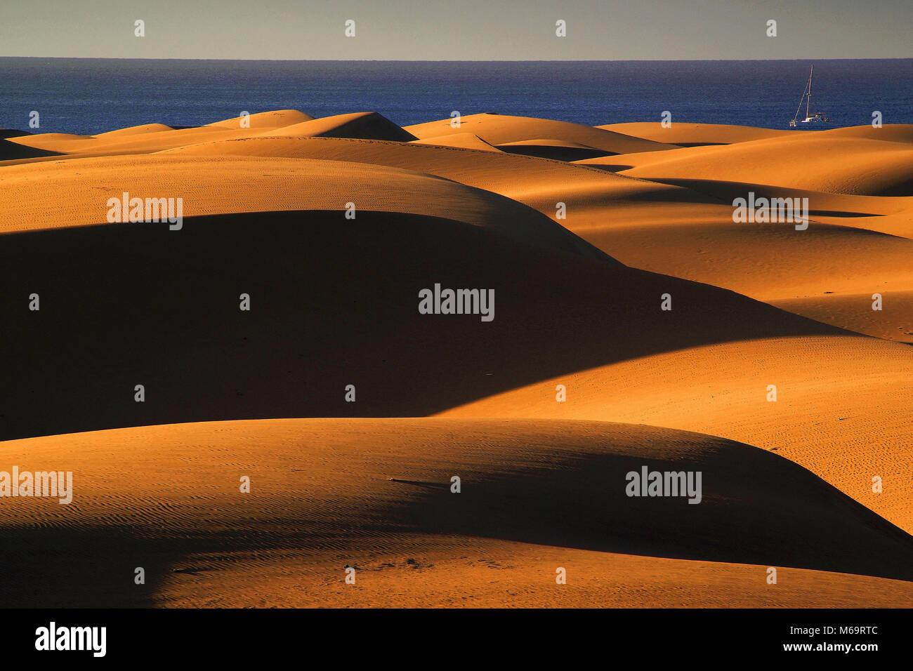 Gran Canaria, Duene, Duenen, Maspalomas, Sandduenen, Meer, Foto Stock