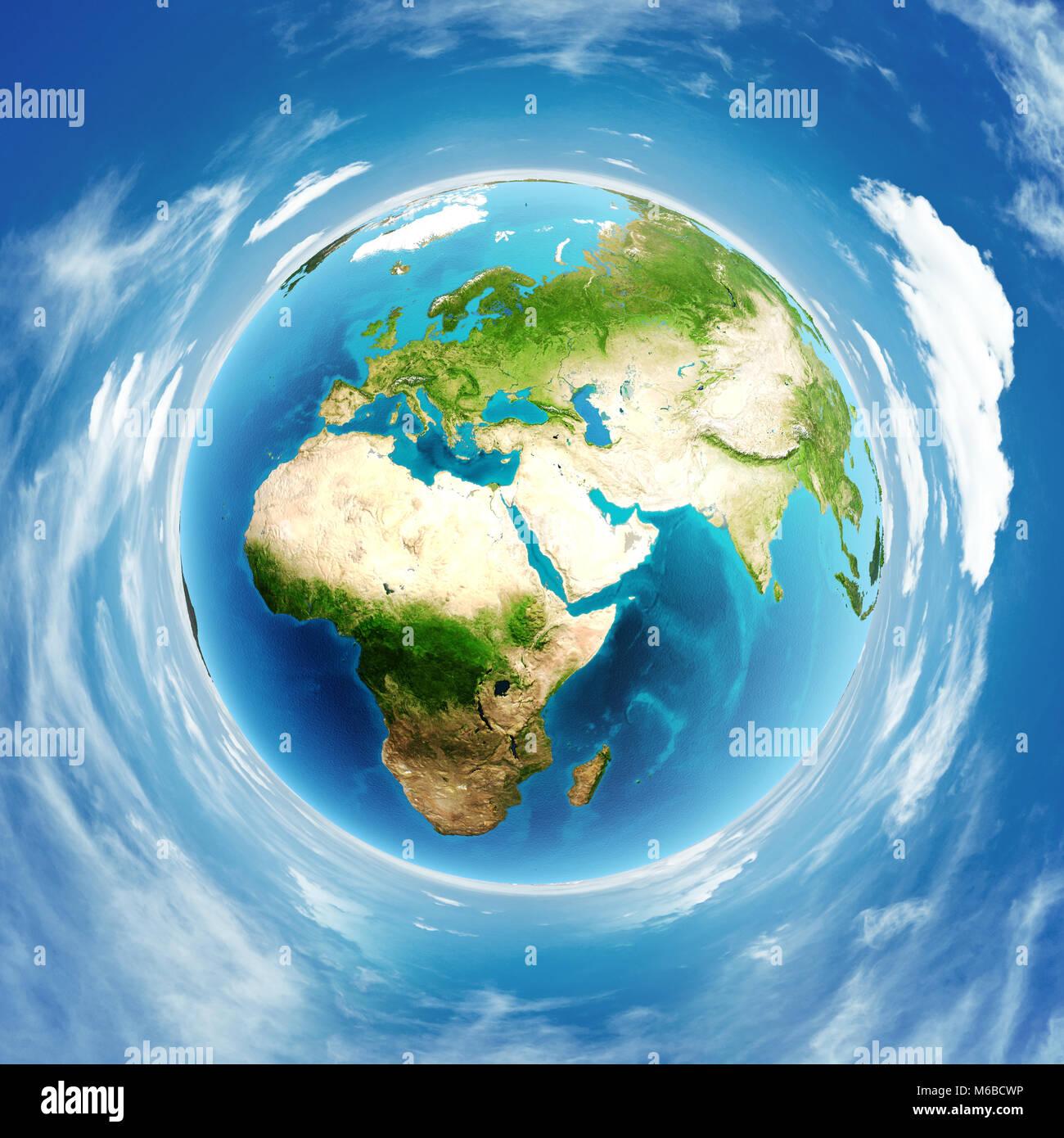 Il pianeta terra vero sollievo il rendering 3D Immagini Stock