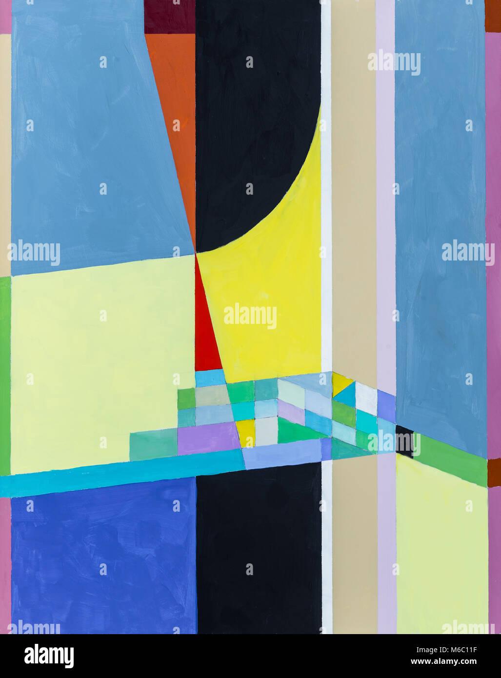 Un Modernista Pittura; Hard Edged Astrazione Geometrica