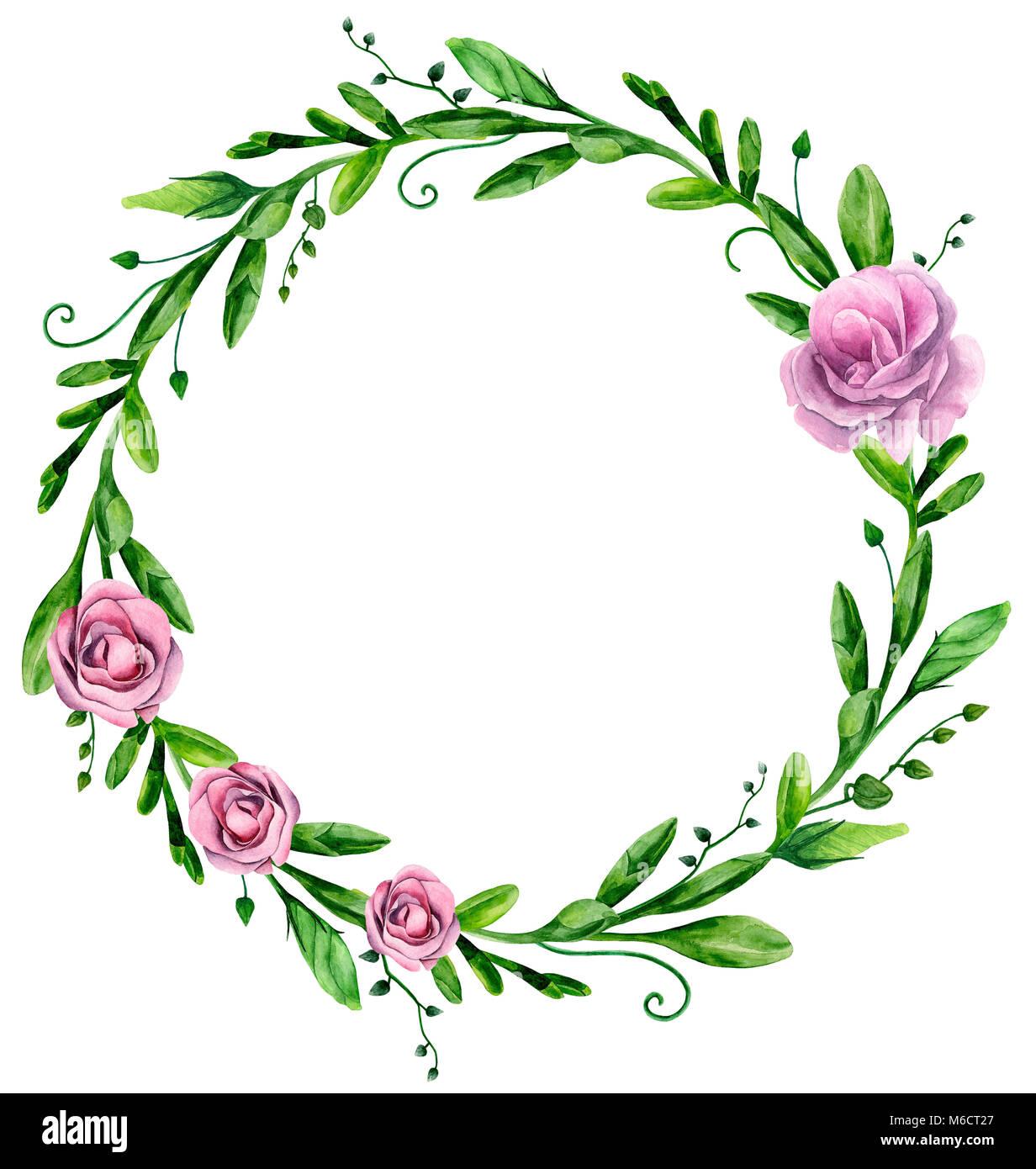 Acquerello verde ghirlanda con fiori di colore rosa. Composizioni floreali clip art Immagini Stock