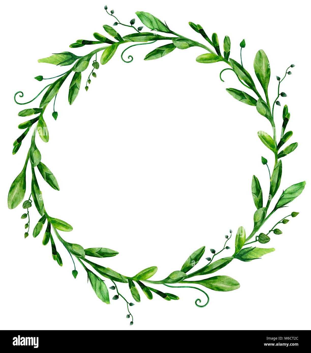 Acquerello verde ghirlanda di telaio. Disposizione verde clip art Immagini Stock