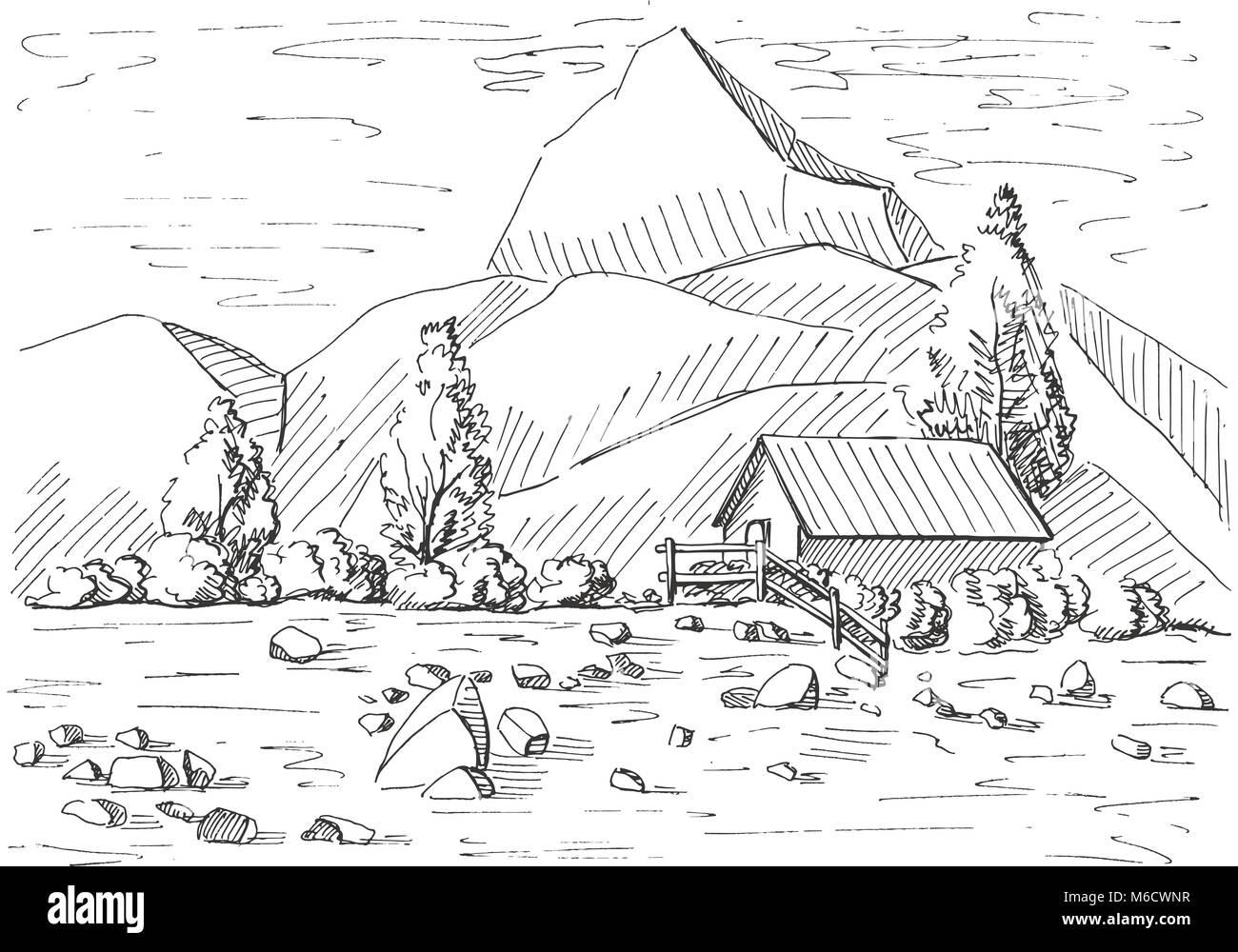 Paesaggio Di Montagna Disegno.Disegno Paesaggio Di Montagna