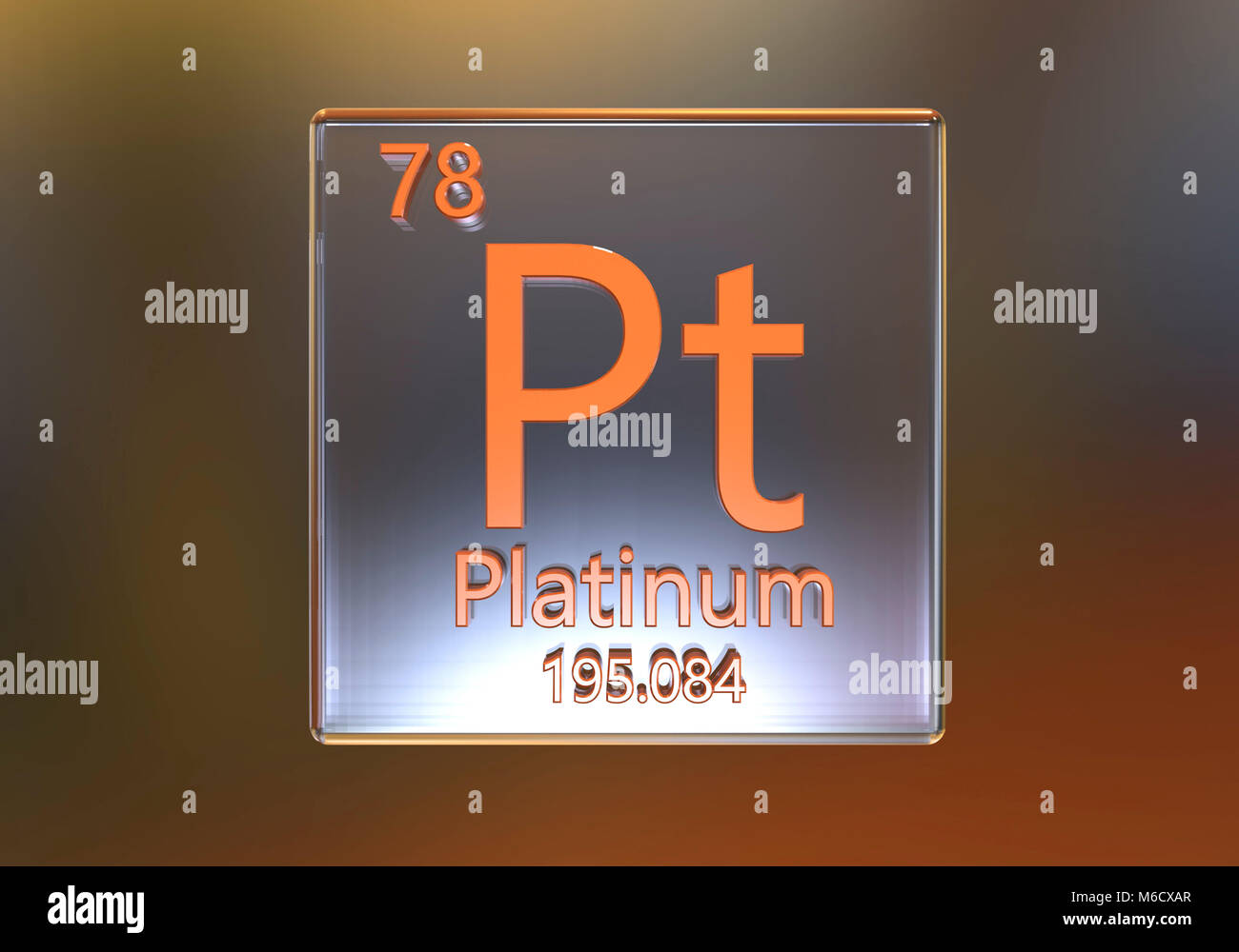 Elemento di platino della tavola periodica, illustrazione del computer. Immagini Stock