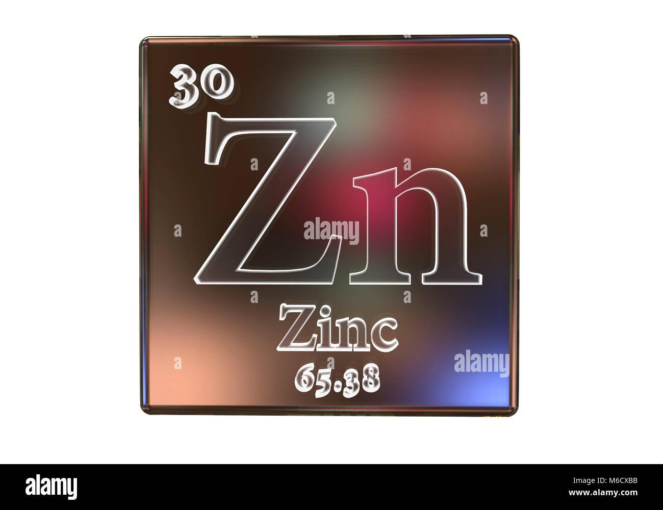Zinco elemento chimico, illustrazione del computer. Immagini Stock