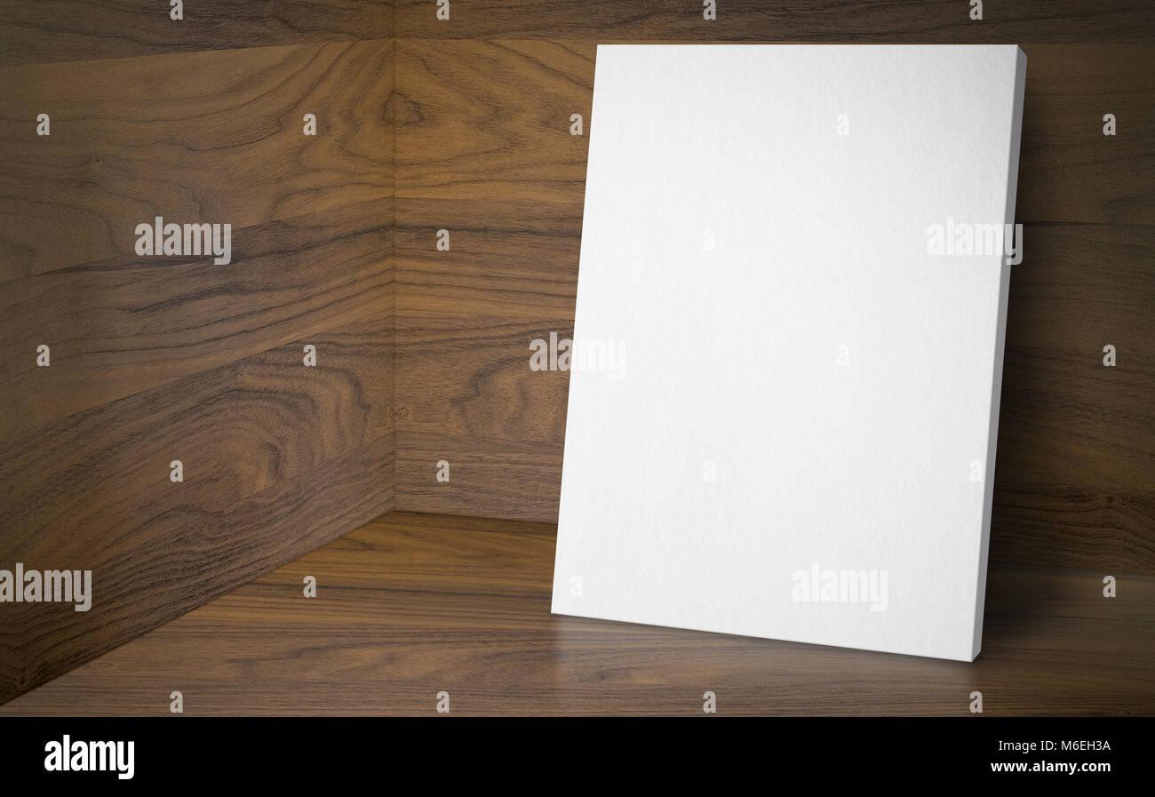 Pareti In Legno Bianco : Poster in bianco nell angolo studio camera con pareti in