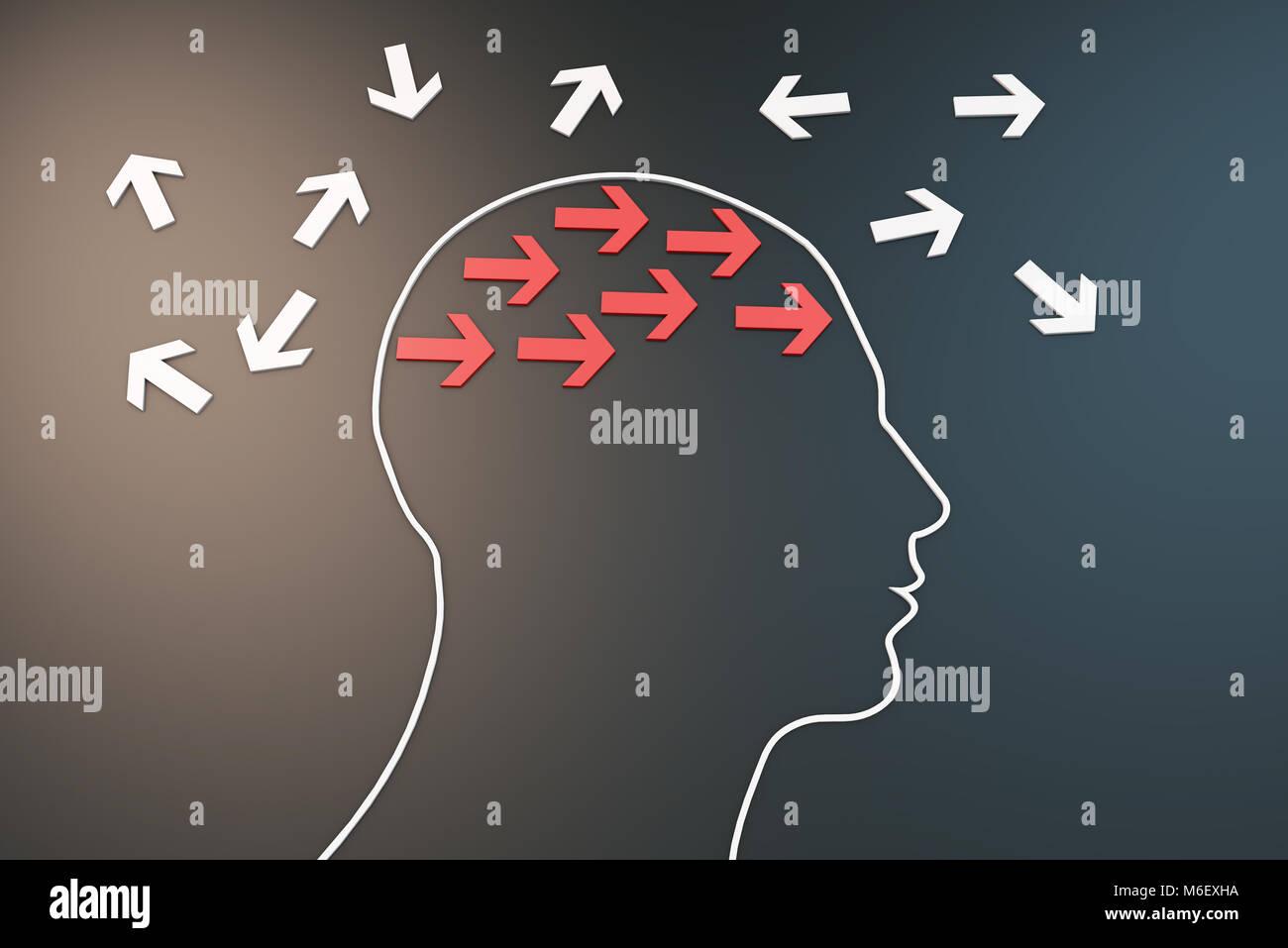 Cervello umano con freccia, il modo di pensare Immagini Stock
