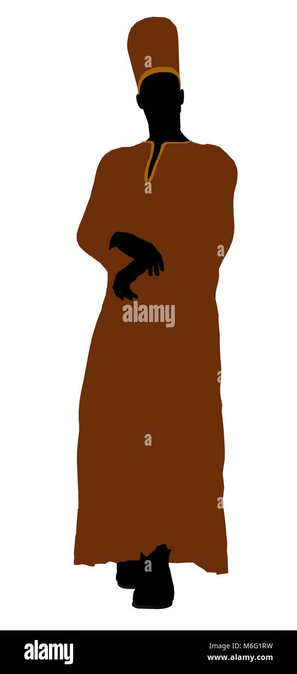 Voce maschile che indossa un abito silhouette illustrazione su sfondo bianco Foto Stock