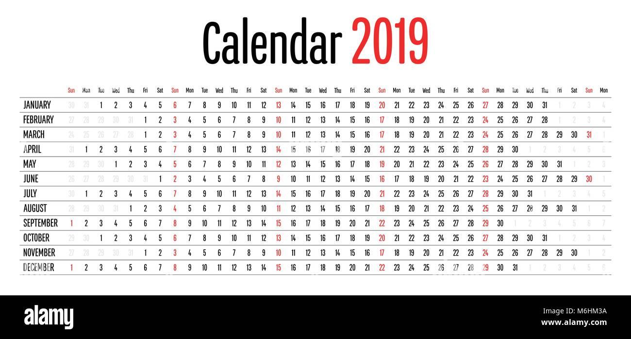Modelli Calendario 2019.Calendario 2019 Design Dimensione Orizzontale Semplice