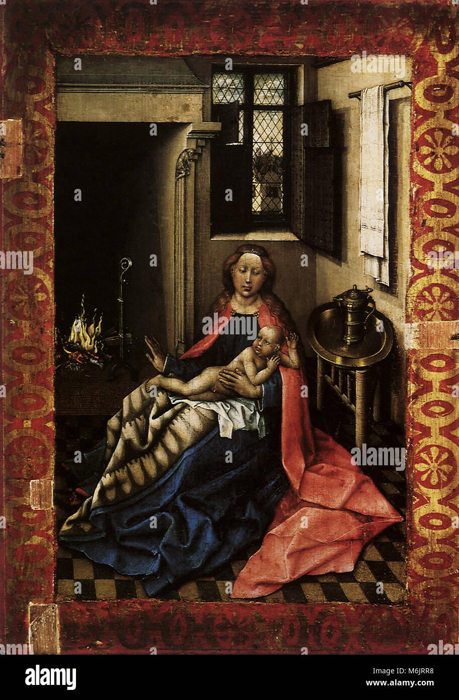 Madonna e Bambino presso il caminetto, Campin Robert, 1434. Immagini Stock