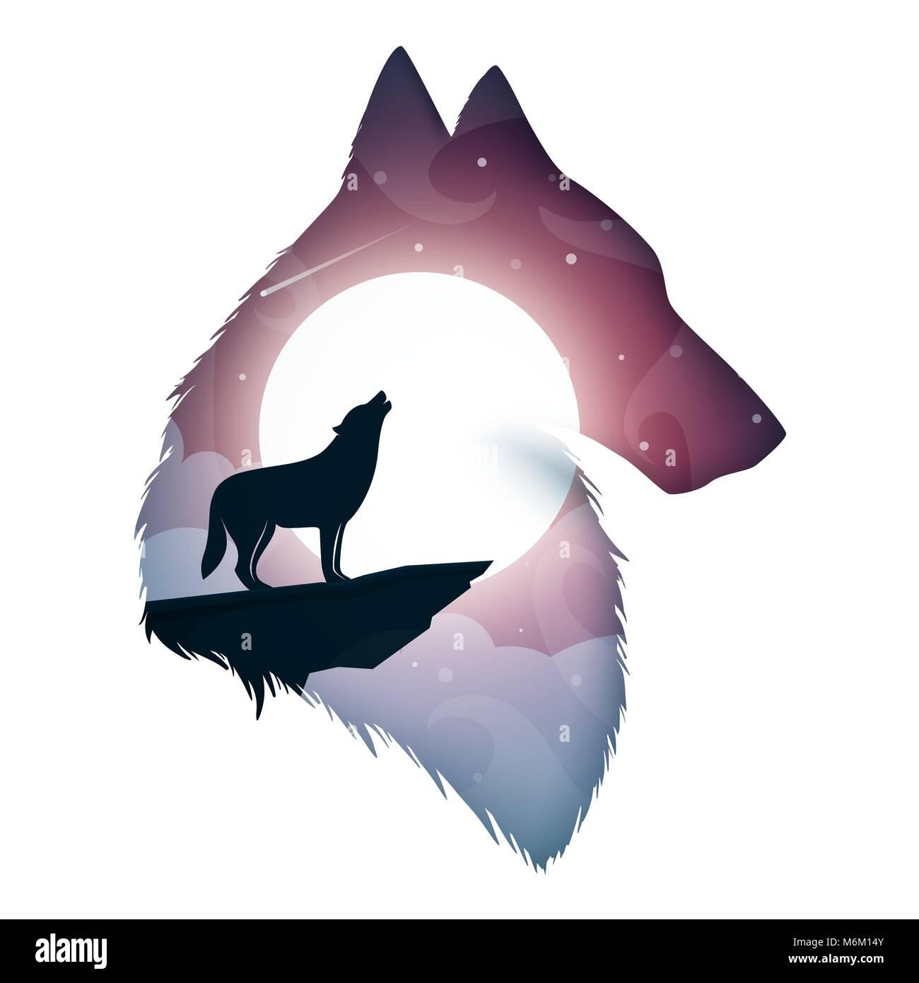 Illustrazione di lupo carta cartone animato paesaggio