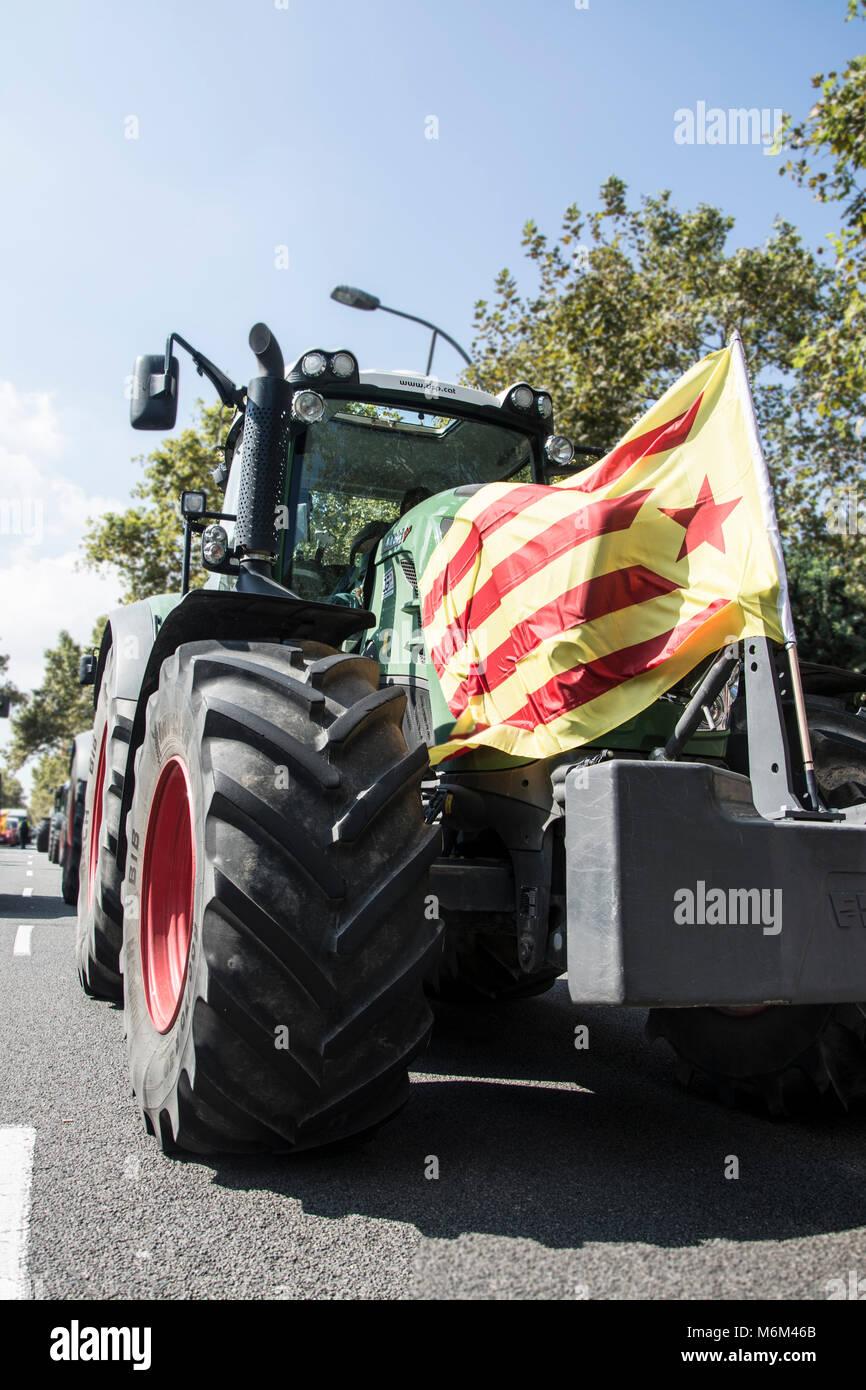 Tractorada en Barcelona con motivo del 1 de Octubre. Immagini Stock